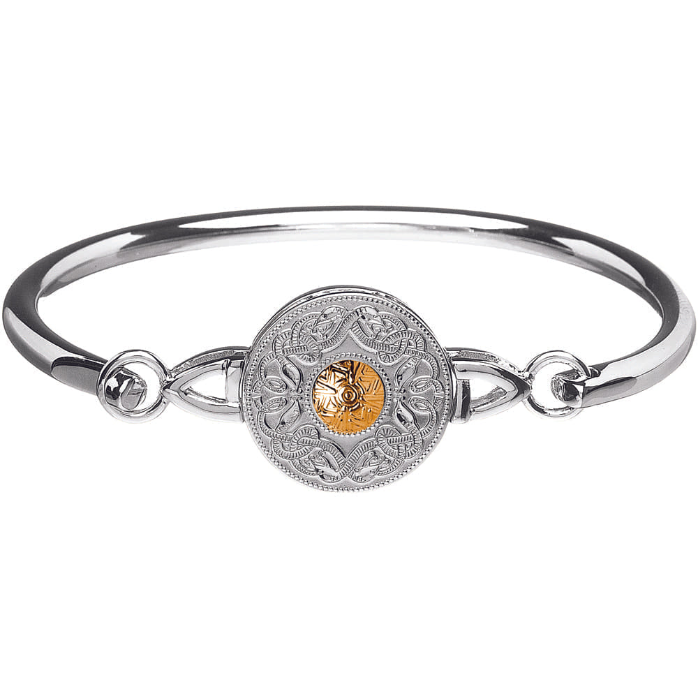 Celtic Warrior Wire Bangle – Medium Disc with 18K Gold Bead