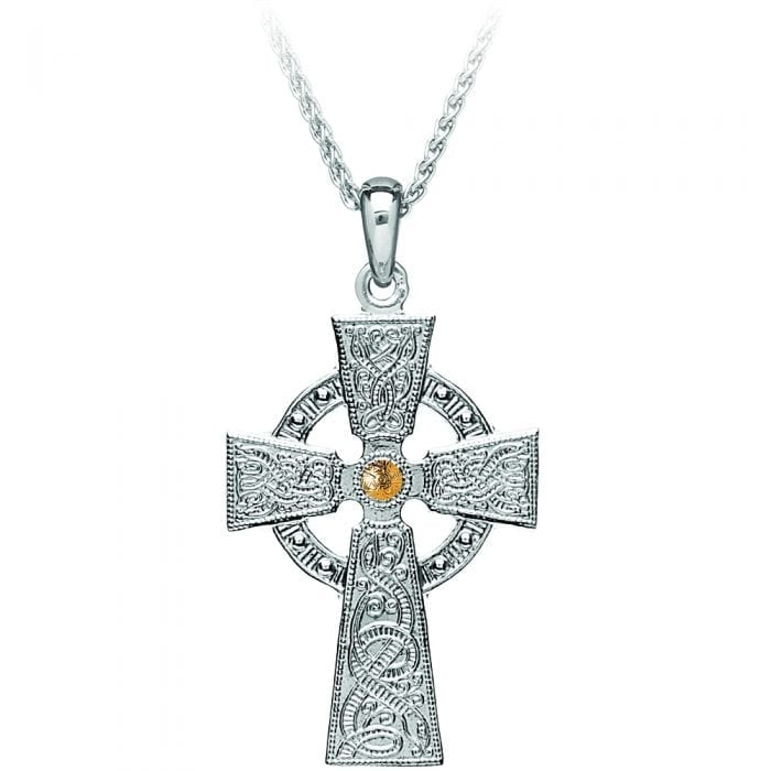 Silver Celtic Warrior Cross with 10K Gold Bead