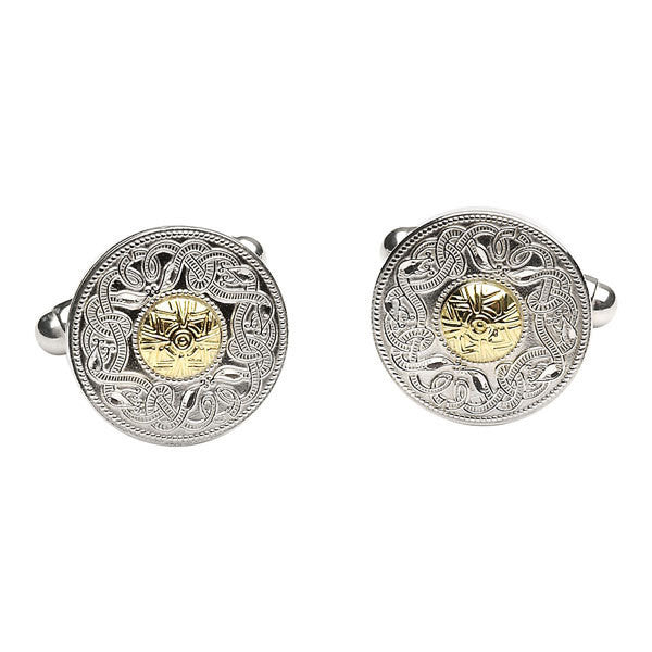 Mens Celtic Warrior Cuff links, Silver and Gold, Boru Jewelry, Dublin, Ireland.