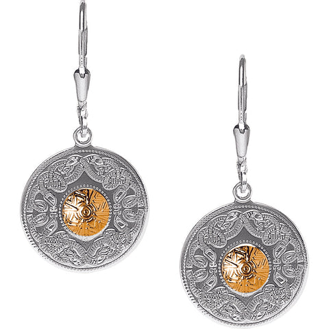 Celtic Warrior Double Earrings with 18K Gold Bead