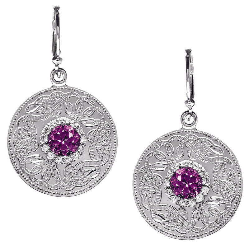 Celtic Warrior Style Earrings with Amethyst and Clear CZ Stones