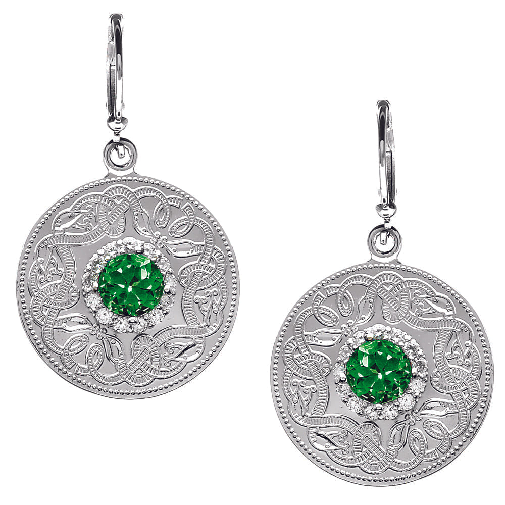 Celtic Warrior Style Earrings with Emerald and Clear CZ Stones