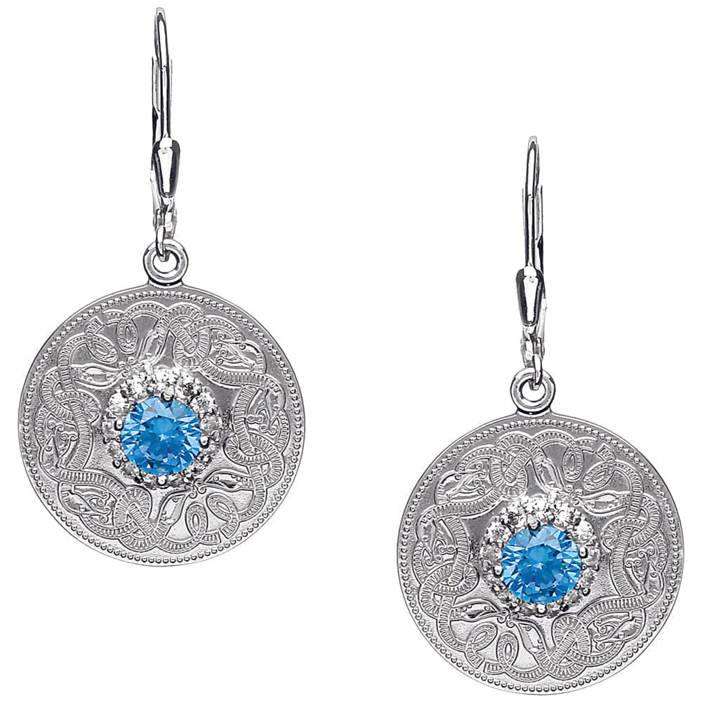 Celtic Warrior Style Earrings with Swiss Blue and Clear CZ Stones