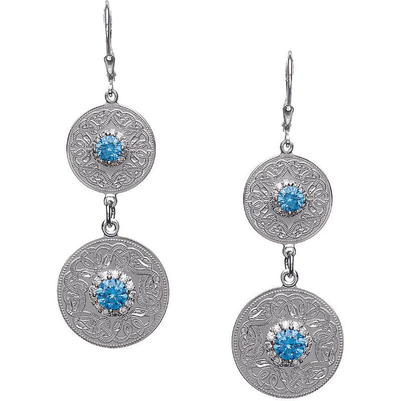 Celtic Warrior Style Double Earrings with Swiss Blue and Clear CZ Stones