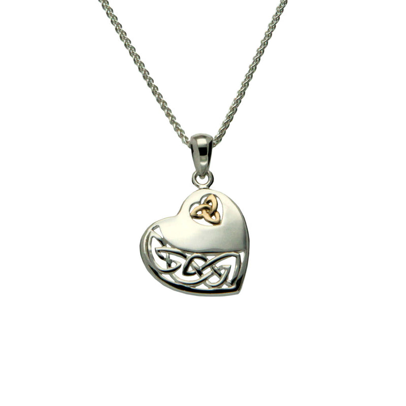 S/Silver and 10K Gold Celtic Heart Pendant