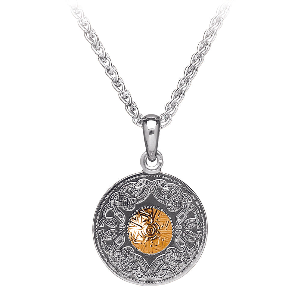 Celtic Warrior Pendant – Small Disc with 18K Gold Bead