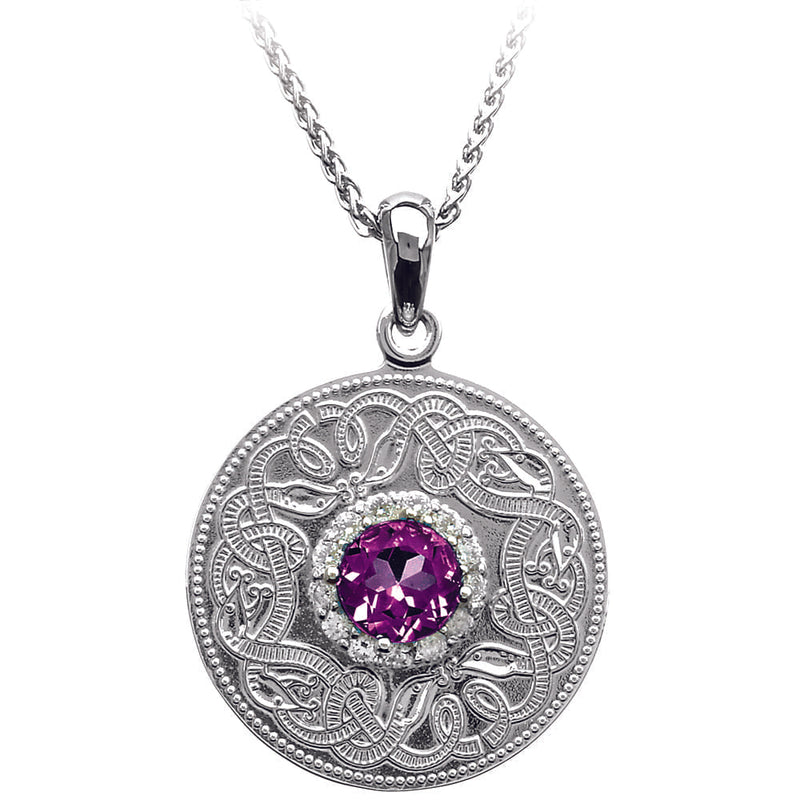 Celtic Warrior Necklace with Amethyst and Clear CZ Stones - Medium