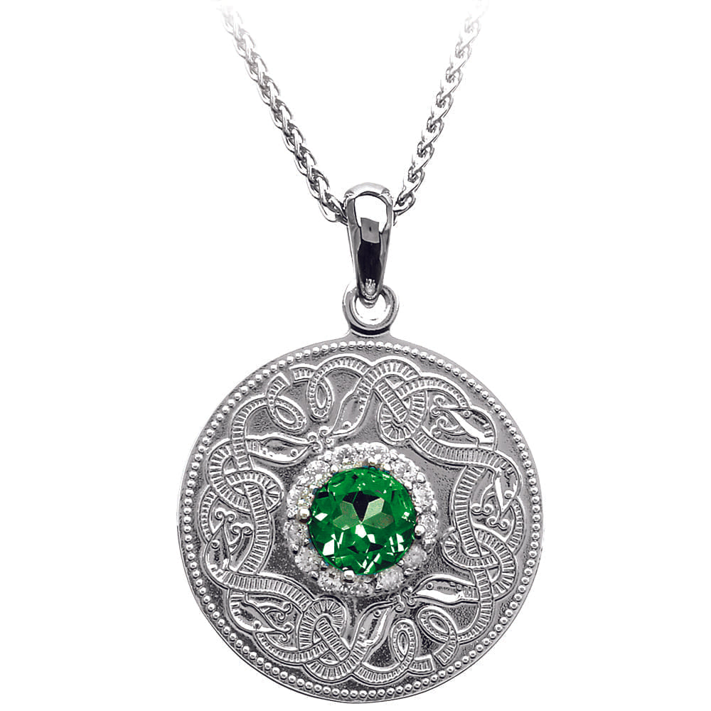 Celtic Warrior Necklace with Emerald and Clear CZ Stones - Medium
