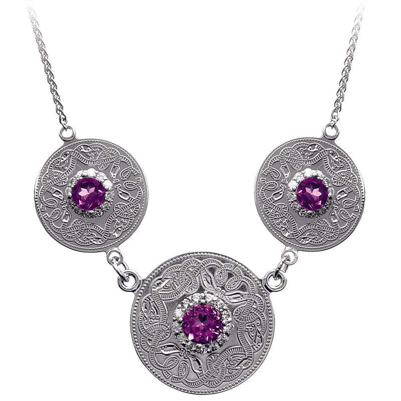 Celtic Warrior Necklace with Amethyst and CZ Stones - Triple Disc