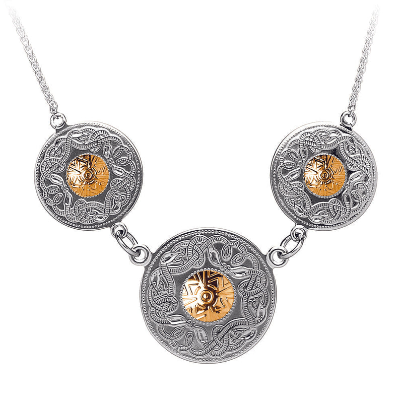 Celtic Warrior Triple Pendant with 18K Gold Bead