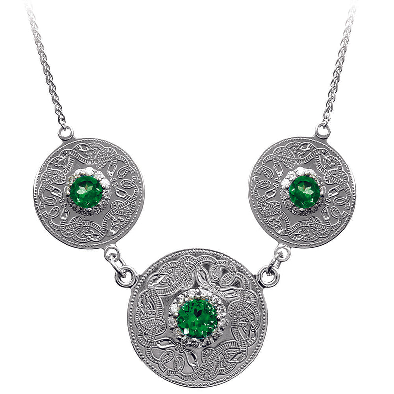 Celtic Warrior Necklace with Emerald and CZ Stones - Triple Disc
