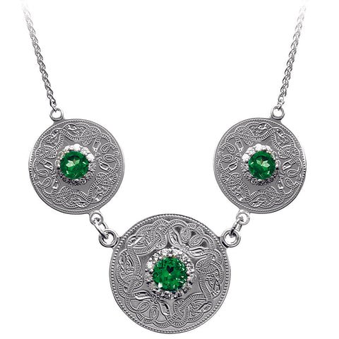 Celtic Warrior Style Double Earrings with Emerald and Clear CZ Stones