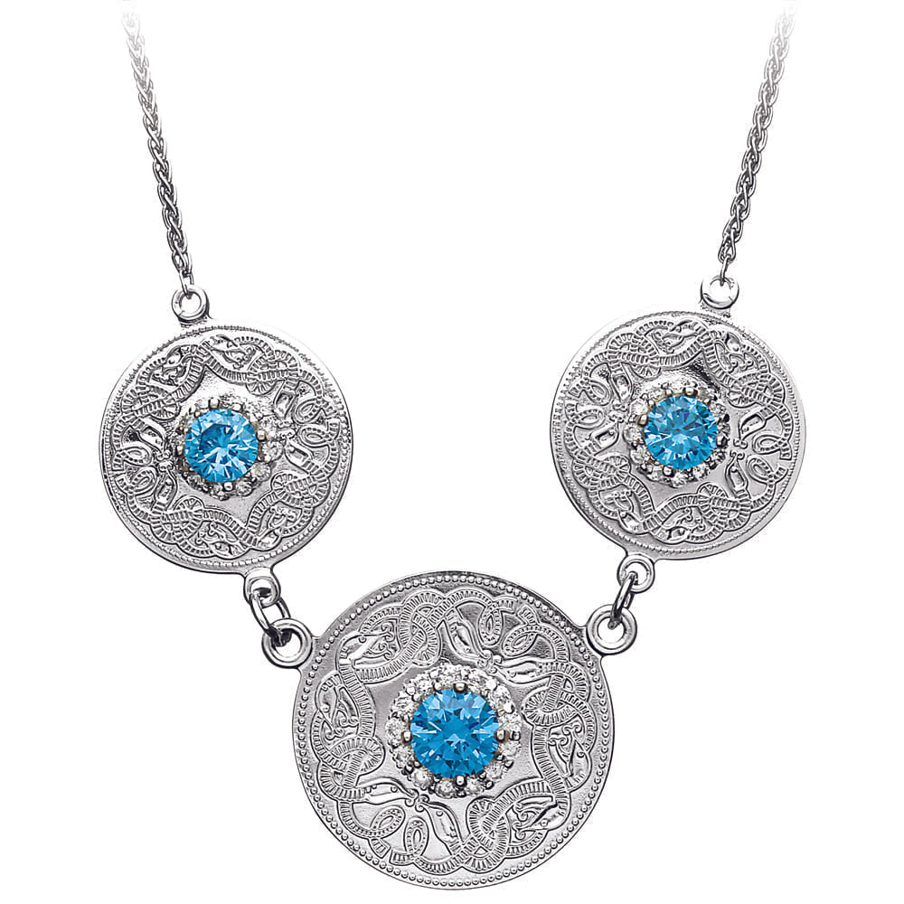 Celtic Warrior Necklace with Swiss Blue and CZ Stones - Triple Disc