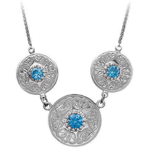 Celtic Warrior Necklace with Swiss Blue and Clear CZ Stones - Medium