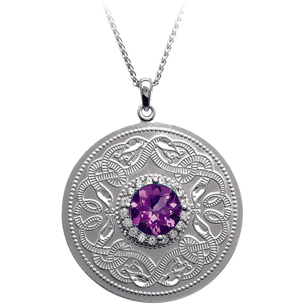 Celtic Warrior Necklace with Amethyst and Clear CZ Stones - Large