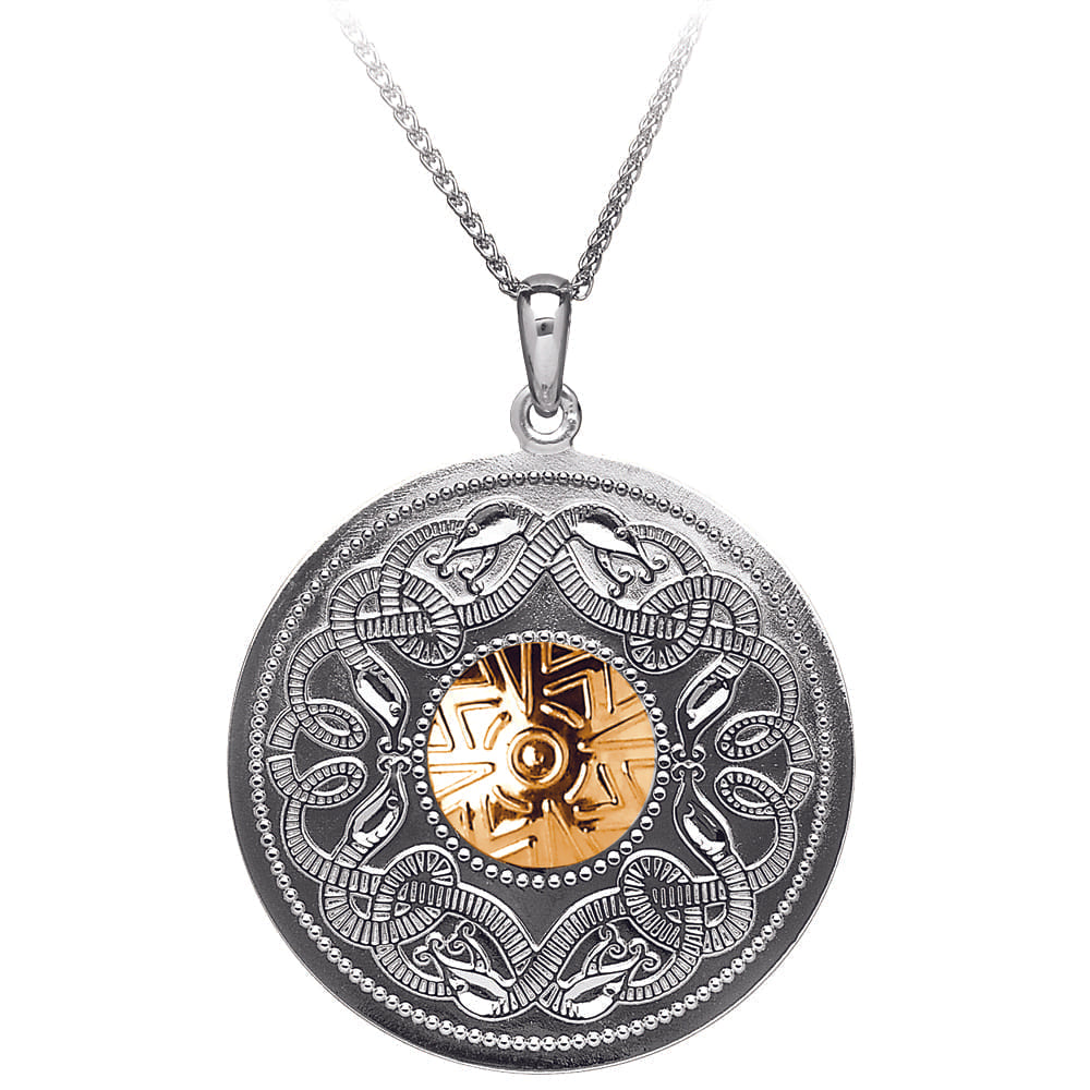 Celtic Warrior Pendant – Large Disc with 18K Gold Bead