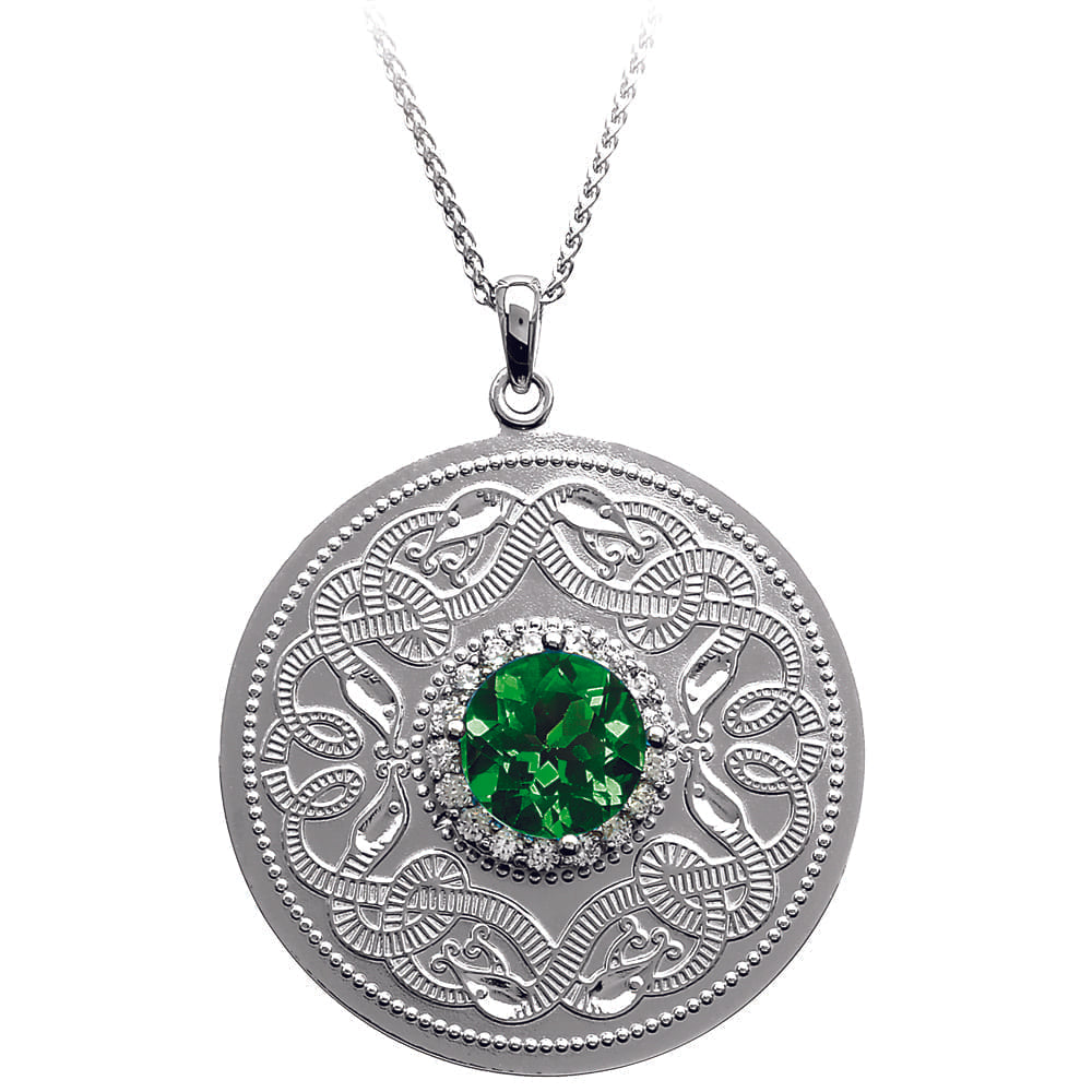 Celtic Warrior Necklace with Emerald and Clear CZ Stones - Large