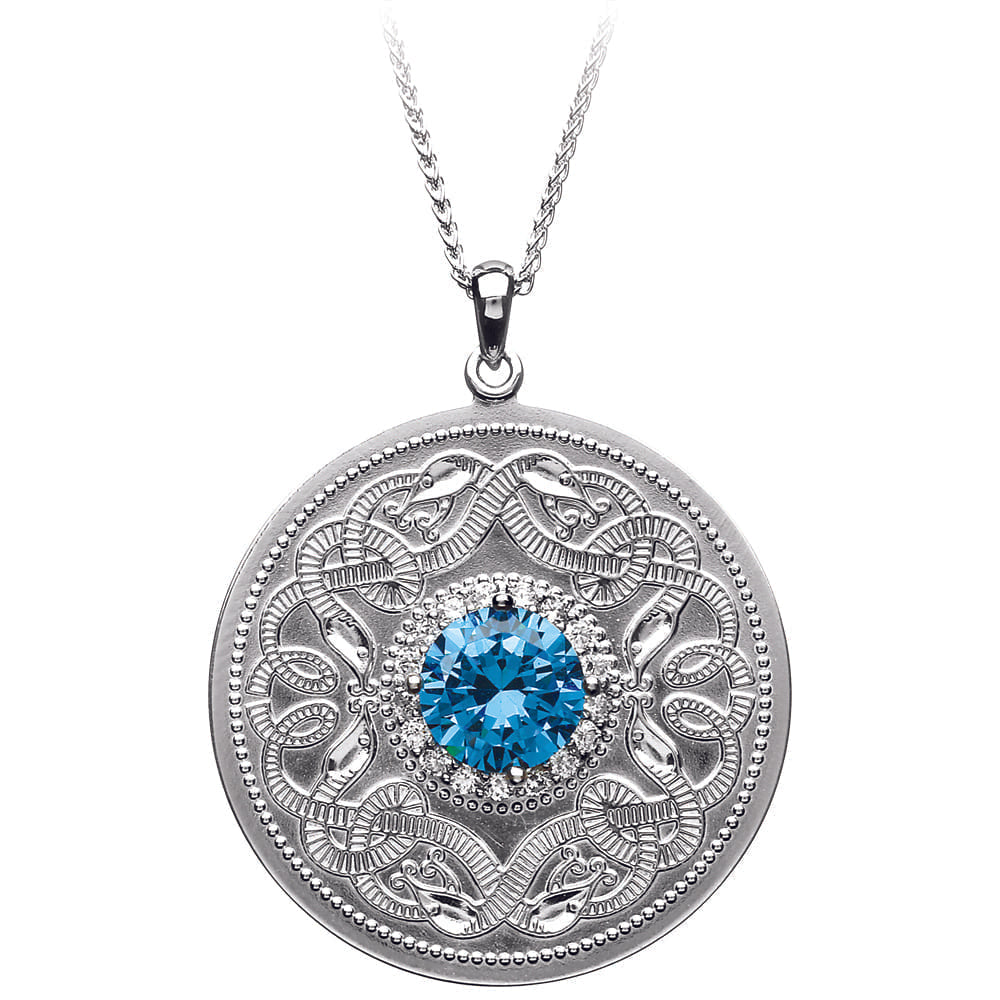Celtic Warrior Necklace with Swiss Blue and Clear CZ Stones - Large