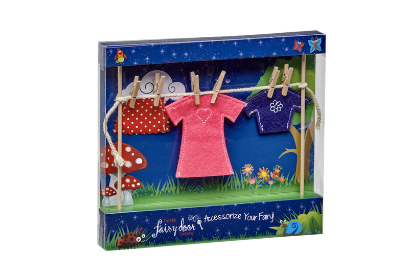 Irish Fairy Door Clothes Line with Female Clothes
