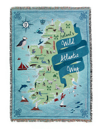 Loominations Wild Atlantic Way throw blanket full size front image Material:  100% premium quality colour fast cotton  Measurements: 137 x 178 cm (54 x 70 inches)  Weight: 1.5 kg (2.5 lbs)