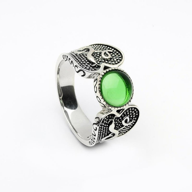 Wood Quay Ring with Green Stone