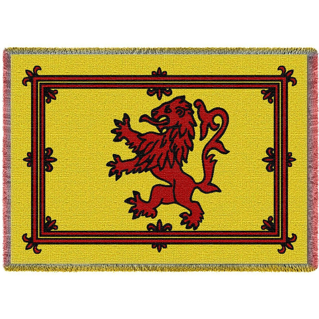 Scottish Rampant Lion Woven Throw Blanket with Fringe