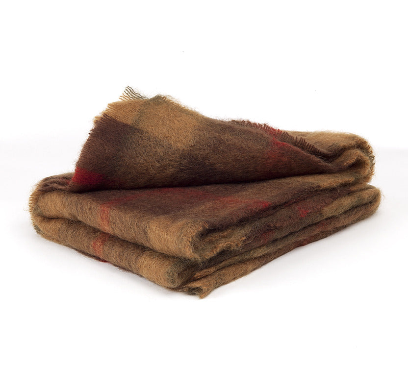 Brushed Mohair Throw - Brown Check