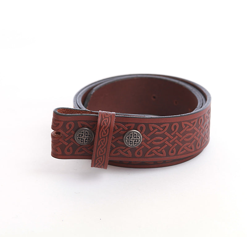 Wide Celtic Knot-work Belt (no buckle) - Black or Brown