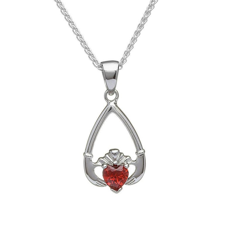 Birthstone Claddagh Necklace