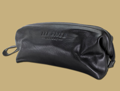 Lee River Leather embossed on black leather toilet bag