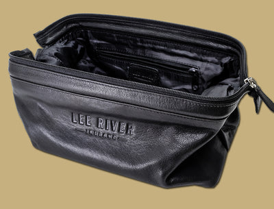 Inside view of Lee River Leather black leather toilet bag