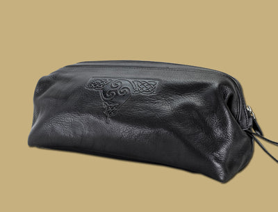Trsikele Celtic Design Embossed Black Leather Toilet Bag by Lee River Leather Ireland