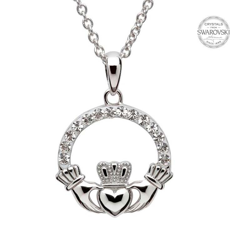 Claddagh Necklace With Swarovski Crystals By Shanore Real Irish