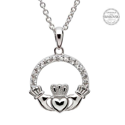 SW46 Claddagh Necklace with Swarovski Crystals by Shanore