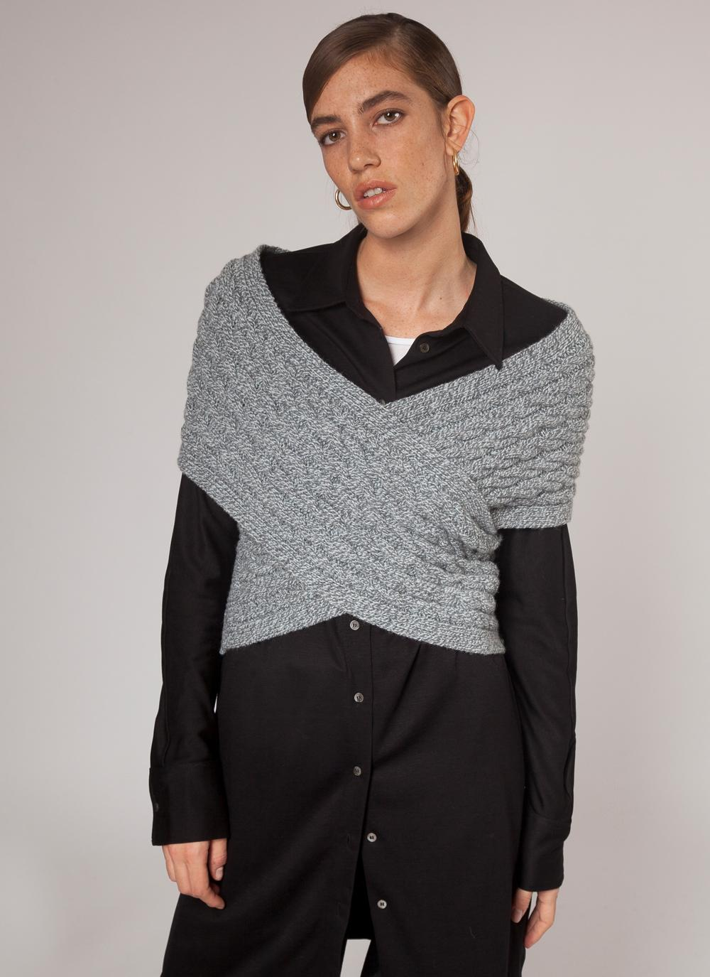 Womens Fisherman Aran Cable Wrap - Merino Wool and Cashmere