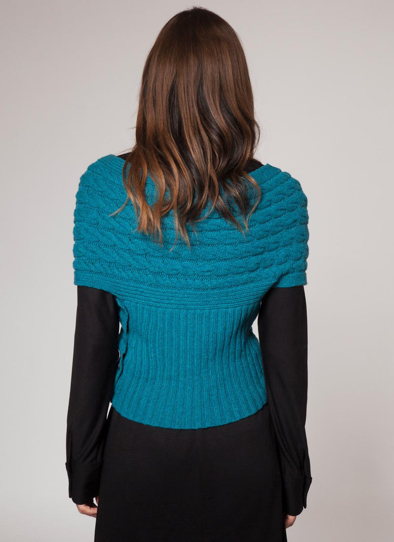 Womens Fisherman Aran Cable Wrap in Wool & Cashmere - Turquoise