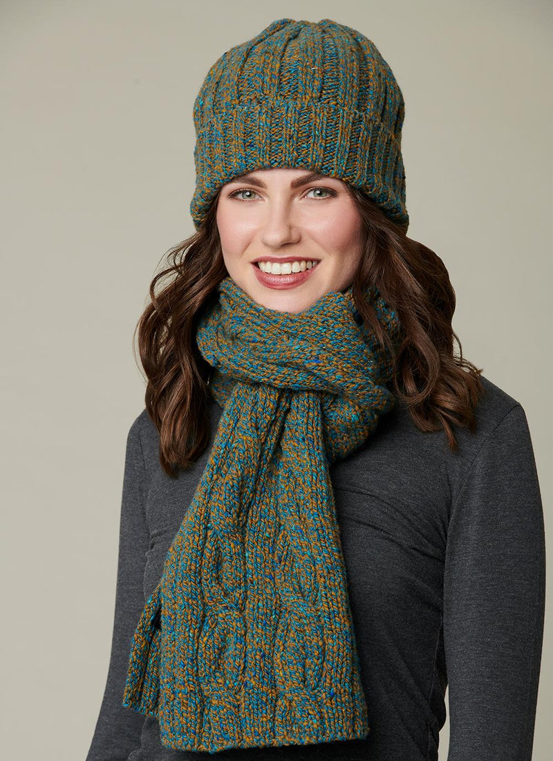 Womens Cable Knit Merino Wool Scarf & Beanie Set - Emerald