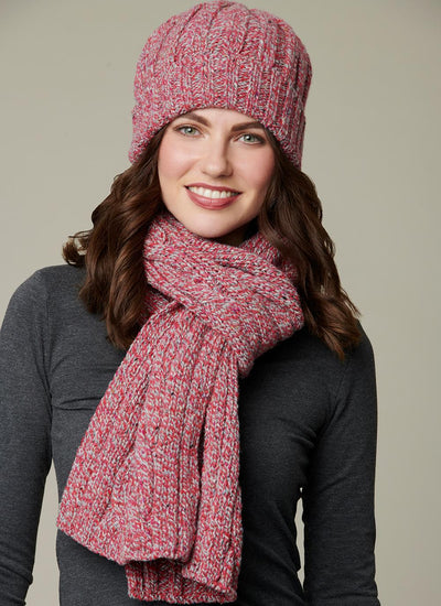 Womens Cable Knit Merino Wool Scarf & Beanie Set - Rock Candy