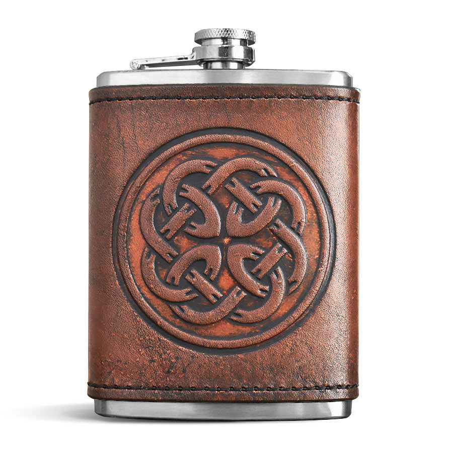 Brown Leather Wrapped Flask - Father's Knot
