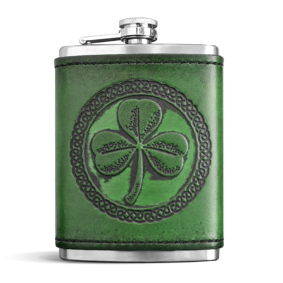 Green Leather Wrapped Flask - Shamrock