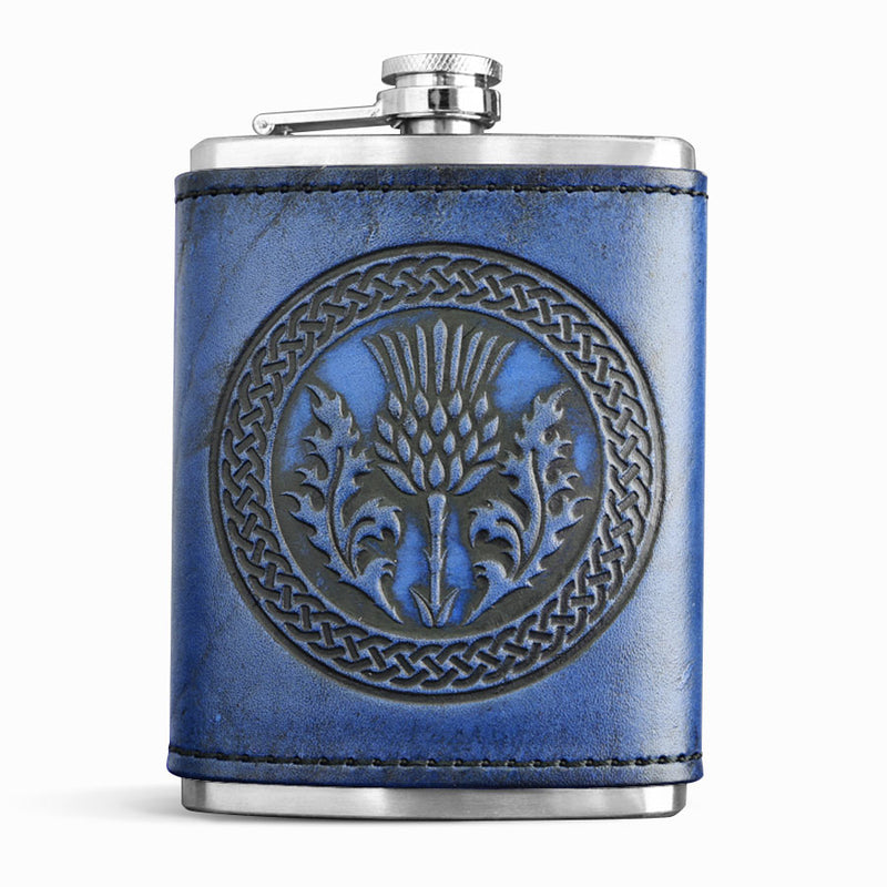 Blue Leather Wrapped Flask - Scottish Thistle