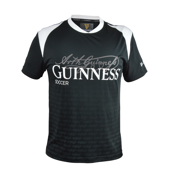 Guinness Black and White Soccer Jersey with Arthur Guinness Signature - G4505