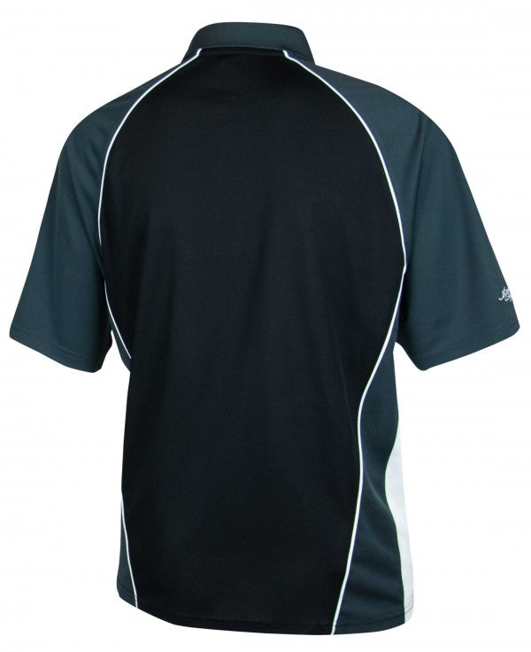 Guinness Men's Black and Grey Paneled Performance Golf Shirt