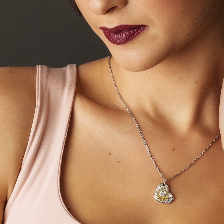 SW14 Claddagh Heart Necklace Encrusted With Swarovski Crystals by Shanore