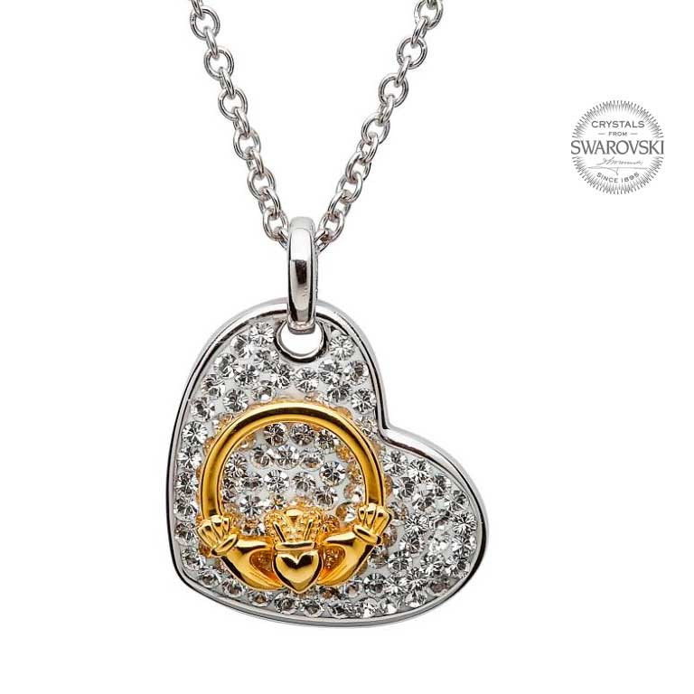 Gold Claddagh & Heart Necklace w/ Swarovski Crystals by Shanore