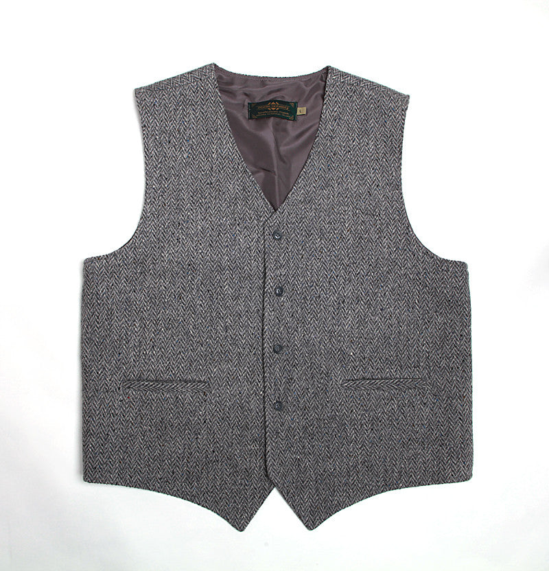 Handwoven Tweed Vest - Silver Grey Herringbone