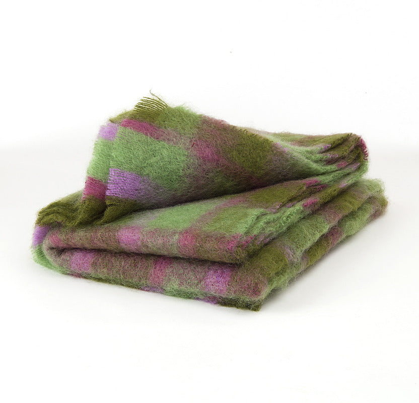 Brushed Mohair Throw - Green Check