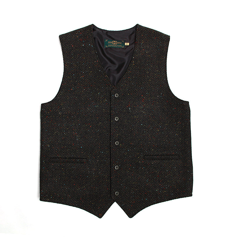 Handwoven Tweed Vest - Dark Green Herringbone