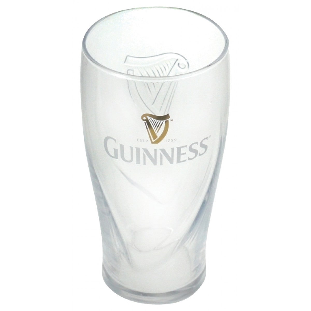 Official Guinness half pint glass with large clear Guinness harp on one side and a smaller gold harp and the word Guinness on the other.