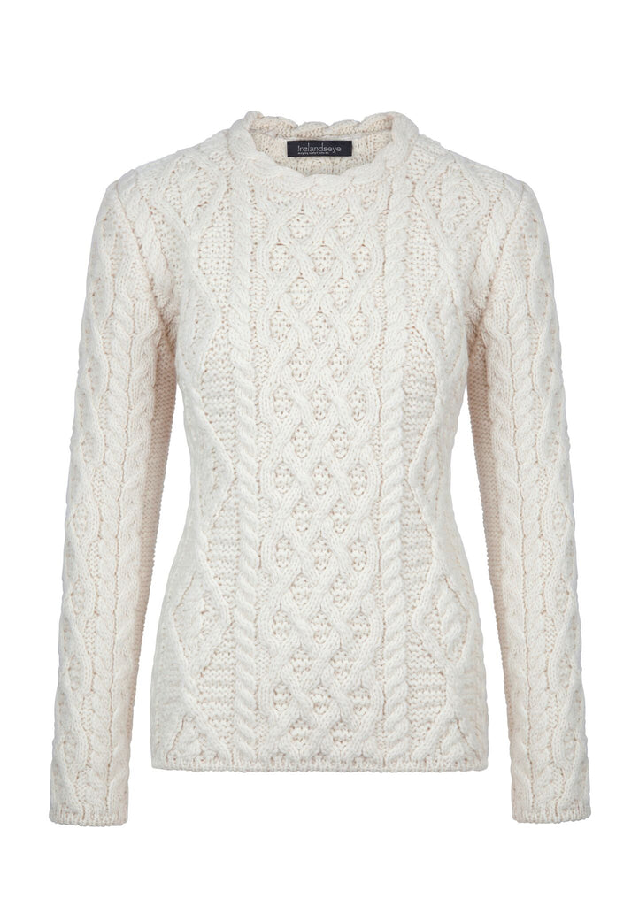 6b63b5b5fa70d5 Women s Lattice Cable Lambay Aran Sweater – Real Irish